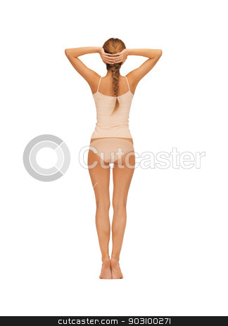 rear view of beautiful woman in cotton undrewear stock photo, rear view of beautiful woman in cotton undrewear by Syda Productions
