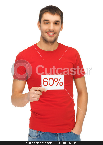 handsome man with discount card stock photo, bright picture of handsome man with discount card. by Syda Productions
