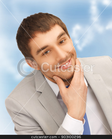 happy businessman stock photo, bright closeup portrait picture of happy businessman by Syda Productions