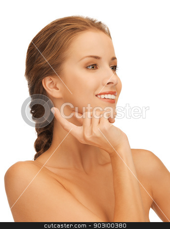 beautiful woman with moisturizing creme drop stock photo, picture of beautiful woman with moisturizing creme drop. by Syda Productions