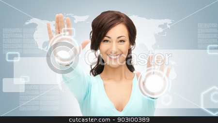 businesswoman working with touch screen stock photo, picture of businesswoman working with touch screen by Syda Productions