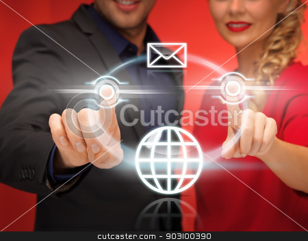 man and woman pressing virtual button stock photo, bright picture of man and woman pressing virtual button by Syda Productions