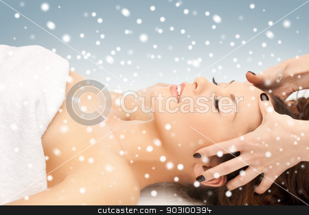beautiful woman in massage salon with snow stock photo, picture of beautiful woman in massage salon with snow by Syda Productions