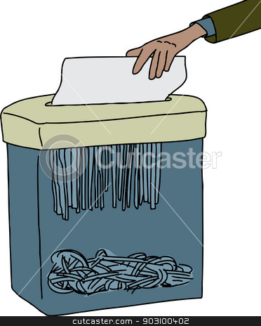 Shredding Paper stock vector clipart, Hand of office worker shredding paper with machine by Eric Basir