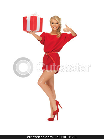 woman in red dress with gift box stock photo, picture of woman in red dress with gift box by Syda Productions