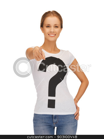 happy and smiling woman pointing her finger stock photo, picture of happy and smiling woman pointing her finger by Syda Productions