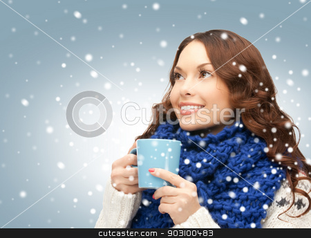 woman with blue mug stock photo, picture of beautiful woman with blue mug by Syda Productions