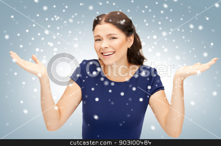surprise stock photo, bright picture of happy woman with expression of surprise by Syda Productions