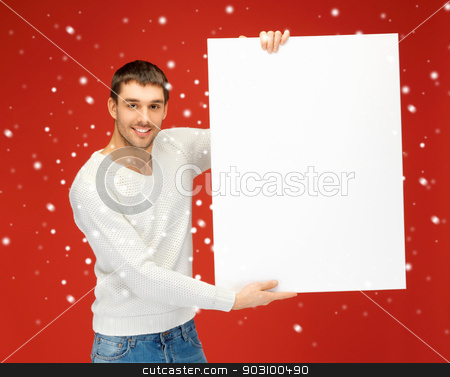 handsome man with big blank board stock photo, bright picture of handsome man with big blank board. by Syda Productions