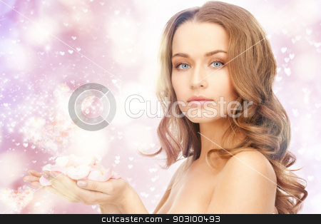 beautiful woman with rose petals stock photo, picture of beautiful woman with rose petals and hearts. by Syda Productions