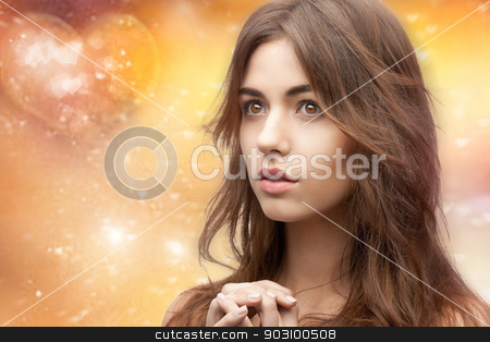 beautiful woman stock photo, bright closeup portrait picture of beautiful woman by Syda Productions