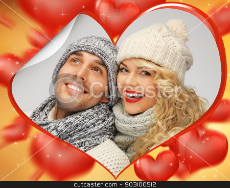 family couple in a winter clothes stock photo, bright picture of family couple in a winter clothes by Syda Productions