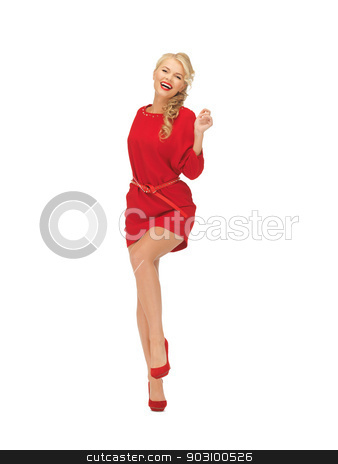 dancing lovely woman in red dress stock photo, picture of dancing lovely woman in red dress by Syda Productions