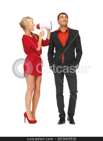 beautiful couple with megaphone stock photo, bright picture of beautiful couple with megaphone by Syda Productions