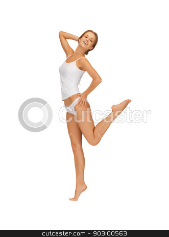 beautiful woman in cotton undrewear stock photo, picture of beautiful woman in cotton undrewear by Syda Productions