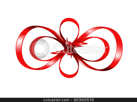 red bow isolated on white background stock photo, bright picture of red bow isolated on white background.. by Syda Productions