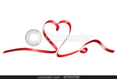 red heart shaped ribbon stock photo, bright picture of red heart shaped ribbon by Syda Productions