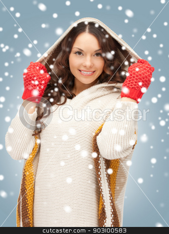 beautiful woman in white sweater stock photo, picture of beautiful woman in white sweater by Syda Productions