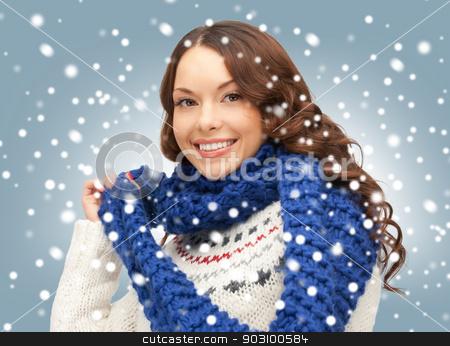 beautiful woman in muffler stock photo, bright picture of beautiful woman in muffler by Syda Productions
