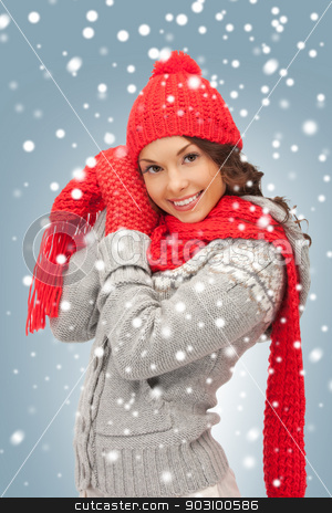 beautiful woman in hat, muffler and mittens stock photo, bright picture of beautiful woman in hat, muffler and mittens by Syda Productions