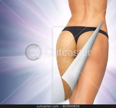skin cleanse concept stock photo, closeup picture of woman in cotton underwear showing skin cleanse concept by Syda Productions