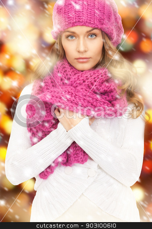 beautiful woman in winter hat stock photo, picture of beautiful woman in winter hat. by Syda Productions