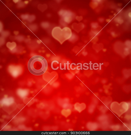 red background with hearts stock photo, blured valentine's day red background with hearts by Syda Productions