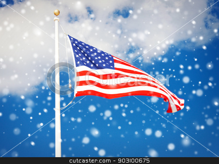 american flag flying in the wind stock photo, picture of the american flag flying in the wind by Syda Productions