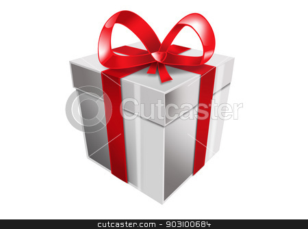 single white gift box with red ribbon stock photo, picture of single white gift box with red ribbon by Syda Productions