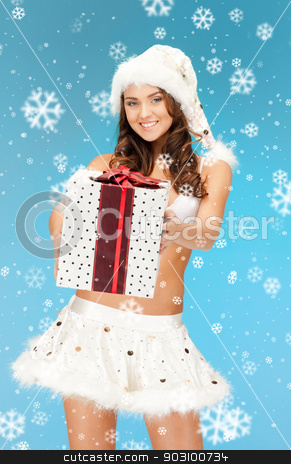 santa helper girl in lingerie with gift box stock photo, picture of cheerful santa helper girl in lingerie with gift box by Syda Productions