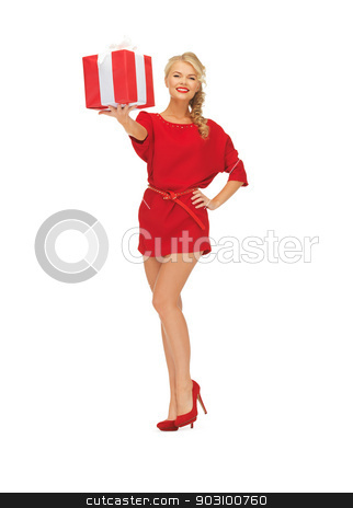 lovely woman in red dress with present stock photo, bright picture of woman in red dress with present by Syda Productions
