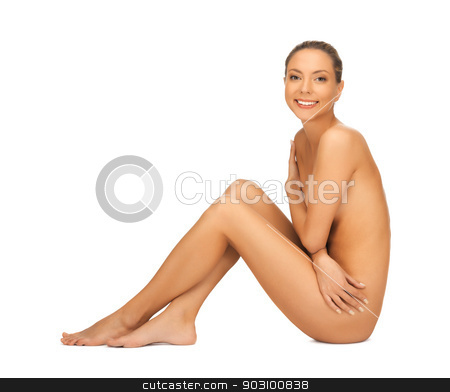 naked woman stock photo, picture of healthy naked woman over white by Syda Productions
