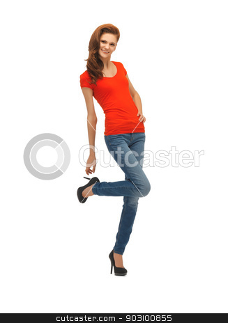 beautiful teenage girl in red t-shirt stock photo, picture of beautiful teenage girl in red t-shirt by Syda Productions
