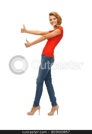 teenage girl in red t-shirt showing thumbs up stock photo, picture of teenage girl in red t-shirt showing thumbs up by Syda Productions