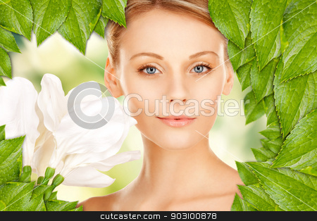 beautiful woman with madonna lily stock photo, picture of beautiful woman with madonna lily flower by Syda Productions