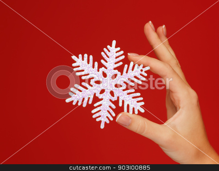 woman's hands holding a snowflake stock photo, closeup picture of woman's hands holding a snowflake by Syda Productions