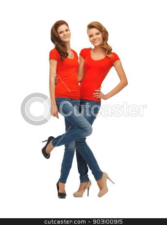 two beautiful teenage girls in red t-shirts stock photo, picture of two beautiful teenage girls in red t-shirts by Syda Productions