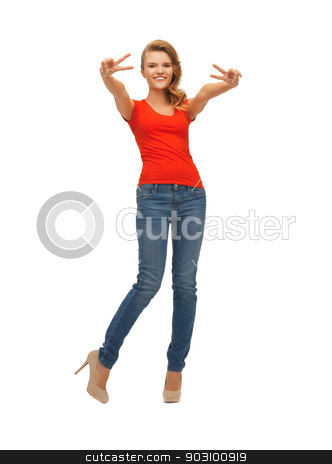 teenage girl in red t-shirt showing victory sign stock photo, picture of teenage girl in red t-shirt showing victory sign by Syda Productions