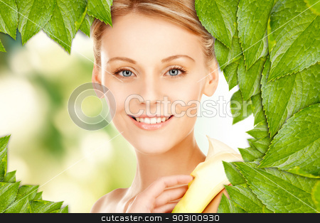 beautiful woman with calla flower stock photo, picture of beautiful woman with calla flower by Syda Productions