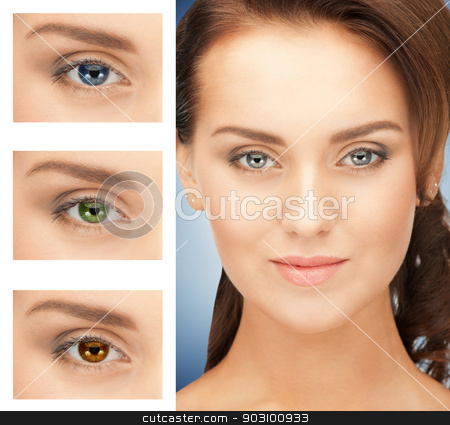 woman with different color of eyes stock photo, picture of beautiful woman with different color of eyes by Syda Productions