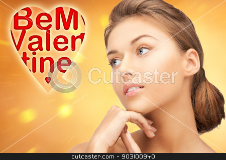 be my valentine stock photo, bright picture of lovely woman with be my valentine words. by Syda Productions