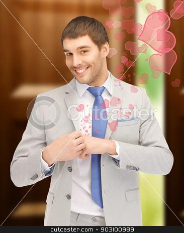 happy man stock photo, bright closeup portrait picture of happy man by Syda Productions