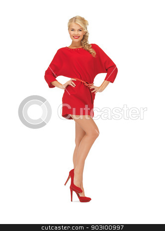 lovely woman in red dress on high heels stock photo, picture of lovely woman in red dress on high heels by Syda Productions