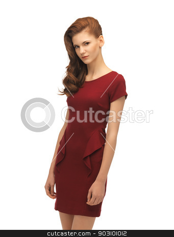 lovely teenage girl in red dress stock photo, picture of lovely teenage girl in red dress by Syda Productions