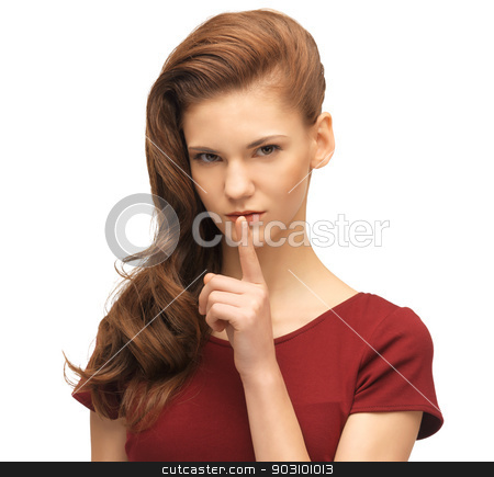 teenage girl in red dress with finger on lips stock photo, picture of lovely teenage girl in red dress with finger on lips by Syda Productions