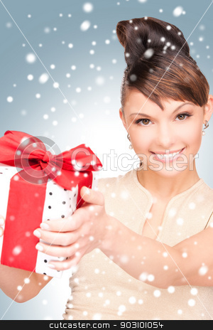 happy woman with gift box stock photo, picture of happy woman with gift box by Syda Productions