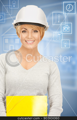 contractor in helmet stock photo, bright picture of female contractor in helmet over white. by Syda Productions