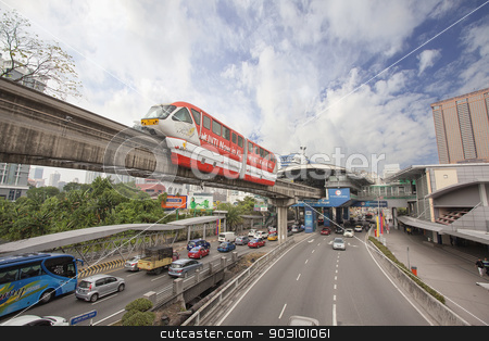 Kuala Lumpur Monorail stock photo, KUALA LUMPUR, MALAYSIA - FEBRUARY 7, 2014: Kuala Lumpur Monorail Transportation System in Downtown KL Malaysia. The monorail is one of the several train systems in Kuala Lumpur. by Jit Lim