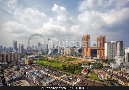 Kuala Lumpur Cityscape stock photo, Kuala Lumpur Malaysia Central Cityscape with Old Neighborhood Houses Against Cloudy Blue Sky by Jit Lim