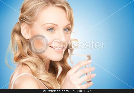beautiful woman with glass of water stock photo, beautiful woman with glass of water over white by Syda Productions